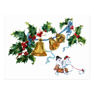 Christmas Bells Holly And Snowman Family Postcard