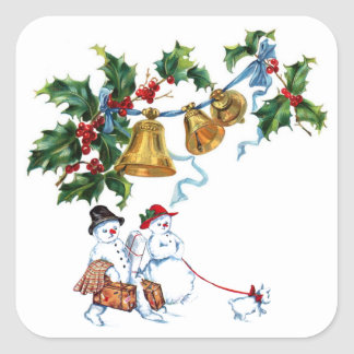 Christmas Bells Holly And Snowman Family Square Sticker