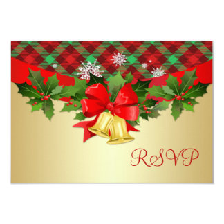"Christmas bells, holly and tartan pattern RSVP 3.5"" X 5"" Invitation Card"