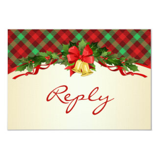 Christmas bells, holly and tartan pattern RSVP Card