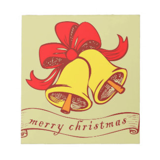 Christmas bells Merry Christmas letters Notepad