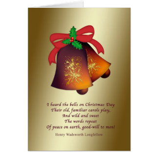 Christmas Bells on Gold Greeting Card
