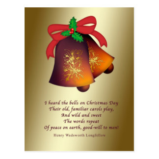 Christmas Bells on Gold Postcard