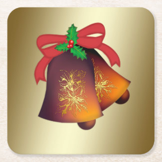 Christmas Bells on Gold Square Paper Coaster