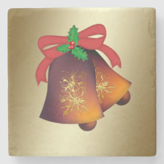 Christmas Bells on Gold Stone Coaster