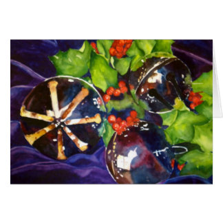 Christmas Bells on Velvet Greeting Card