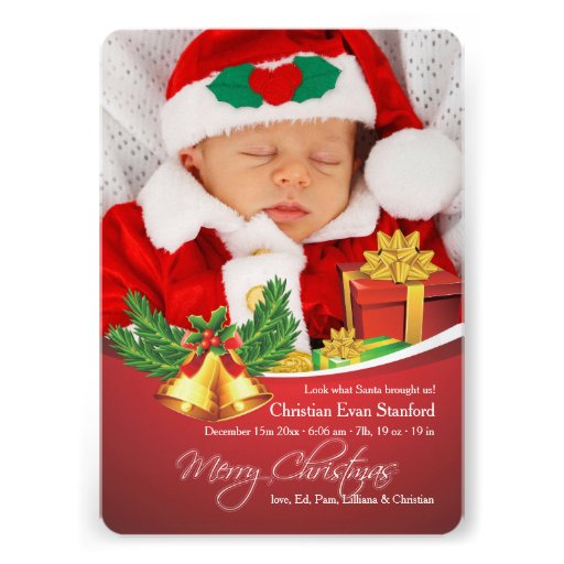 Christmas Bells Photo Birth Announcement