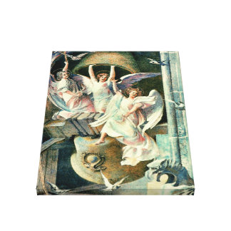 Christmas Bells with Angels Canvas Print