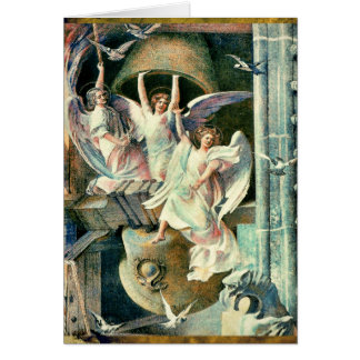 Christmas Bells with Angels Greeting Card