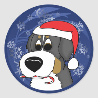 Christmas Bernese Mountain Dog Classic Round Sticker