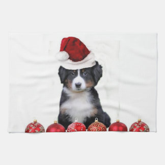 Christmas Bernese Mountain Dog Kitchen Towel