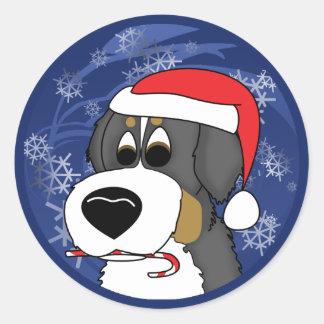 Christmas Bernese Mountain Dog Round Sticker
