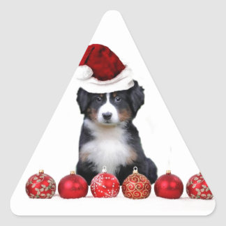 Christmas Bernese Mountain dog Triangle Sticker