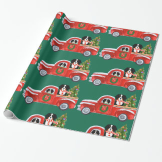Christmas Bernese Mountain Dogs Red Truck Wrapping Paper