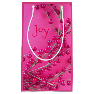Christmas Berries Joy  Small Custom Gift Bag