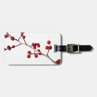 christmas berries luggage tag