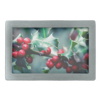 Christmas berries rectangular belt buckle