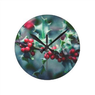 Christmas berries round clock