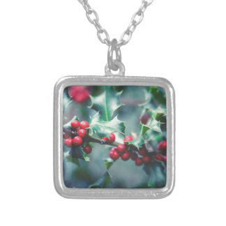 Christmas berries silver plated necklace