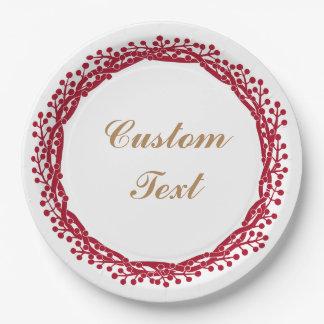 Christmas berry wreath custom paper plate