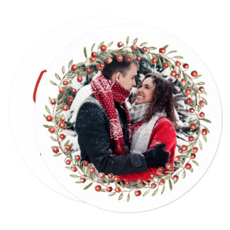 Christmas Berry Wreath | Round Card