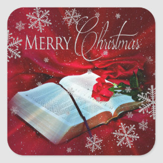 Christmas Bible Christian Square Labels - Red/Snow Square Sticker