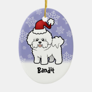 Christmas Bichon Frise (add your pets name) Ceramic Oval Ornament