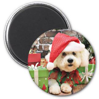 Christmas - Bichon Frise - Daisy 2 Inch Round Magnet