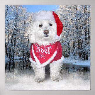Christmas Bichon Frise Dog Posters