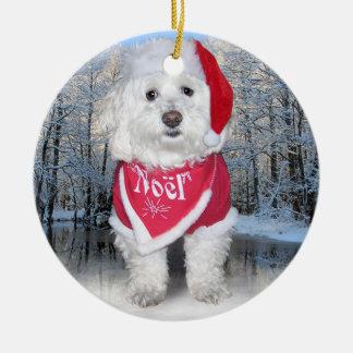 Christmas Bichon Frise Dog Round Ceramic Ornament