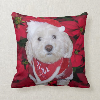 Christmas Bichon Frise Dog Throw Pillow