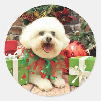 Christmas - Bichon Frise - Mori Classic Round Sticker