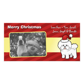 Christmas Bichon Frise Photo Greeting Card