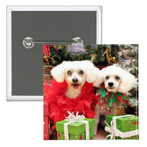 Christmas - Bichon Frise - Satchel and P.J. Pinback Buttons