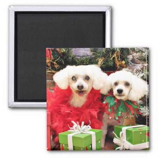Christmas - Bichon Frise - Satchel and P.J. Fridge Magnets