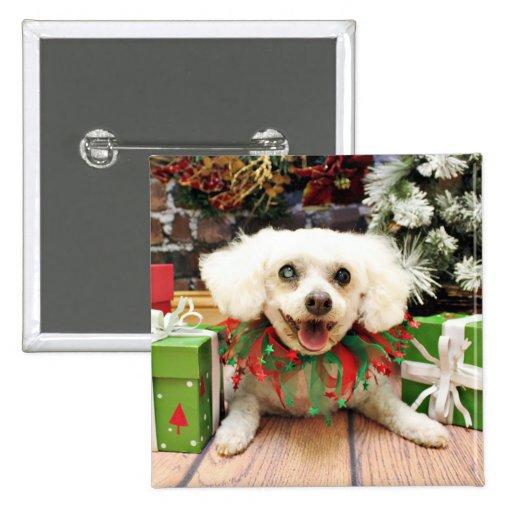 Christmas - Bichon Frise - Satchel Button