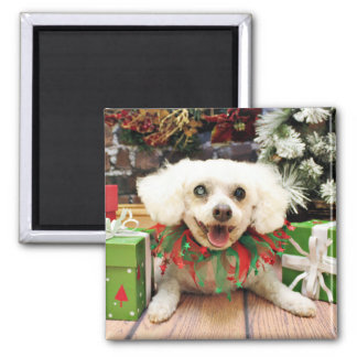 Christmas - Bichon Frise - Satchel Refrigerator Magnet