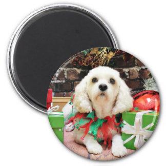 Christmas - Bichon Frise X - Maya 2 Inch Round Magnet