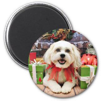Christmas - Bichon X - Bella 2 Inch Round Magnet