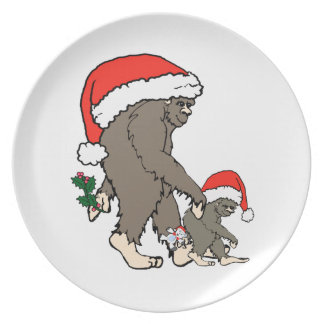 Christmas Bigfoot Family Dinner Plate
