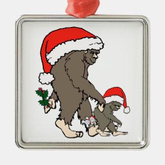 Christmas Bigfoot Family Metal Ornament