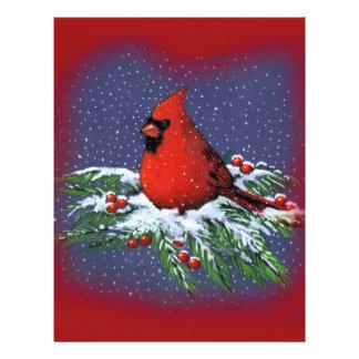 CHRISTMAS BIRD: CARDINAL: ART LETTERHEAD TEMPLATE
