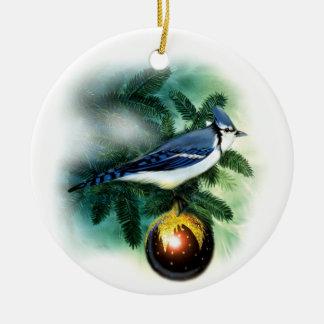 Christmas Bird Pretty Blue Jay Tree Ornament