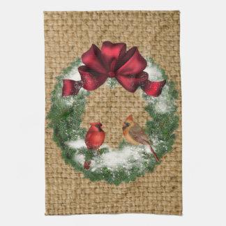 """Christmas Bird Wreath Towel 16"""" x 24"""""""