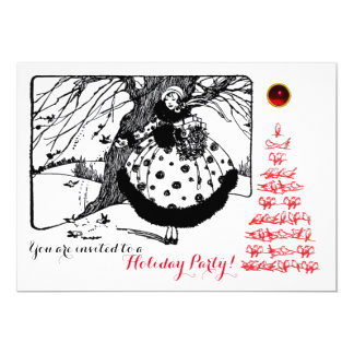 CHRISTMAS BIRDS TREE AND LADY Black White Red Card