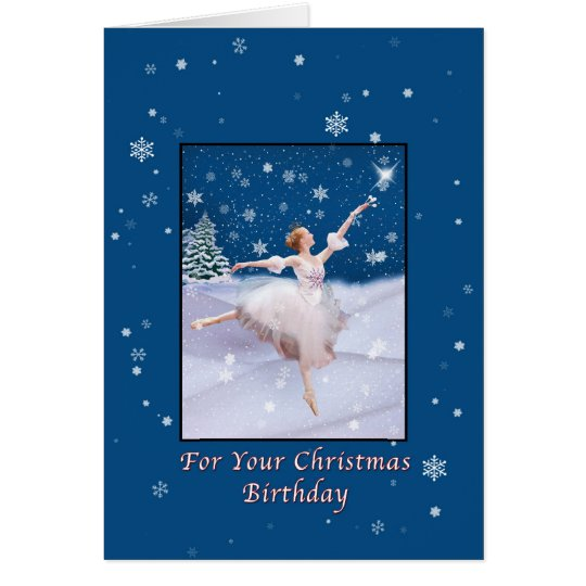 Christmas Birthday, Ballerina Dancing in Snow Card