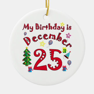 Christmas Birthday Ceramic Ornament