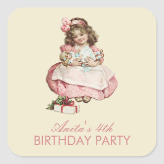 Christmas Birthday Party Vintage Cute Girl Pink Square Sticker