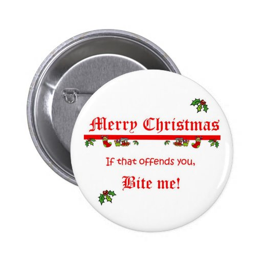 Christmas Bite Me Pinback Buttons