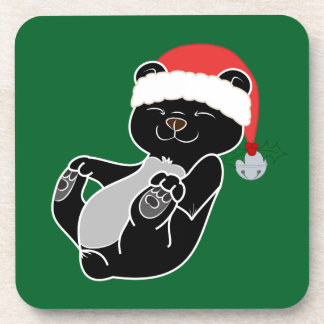 Christmas Black Bear with Santa Hat & Jingle Bell Beverage Coaster